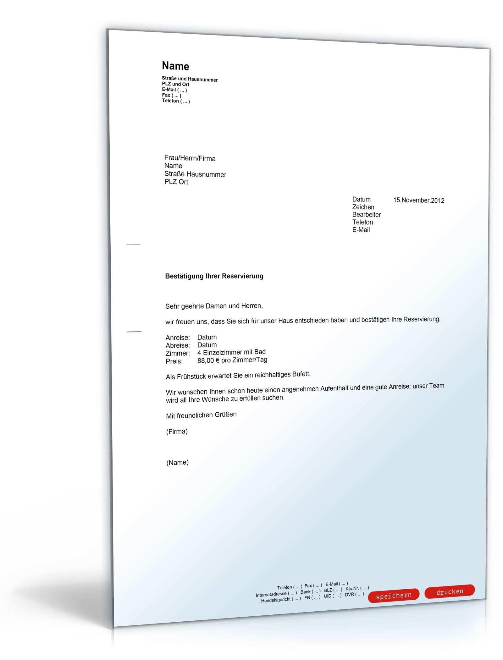 Bestatigung Einer Zimmerreservierung Muster Vorlage Zum Download