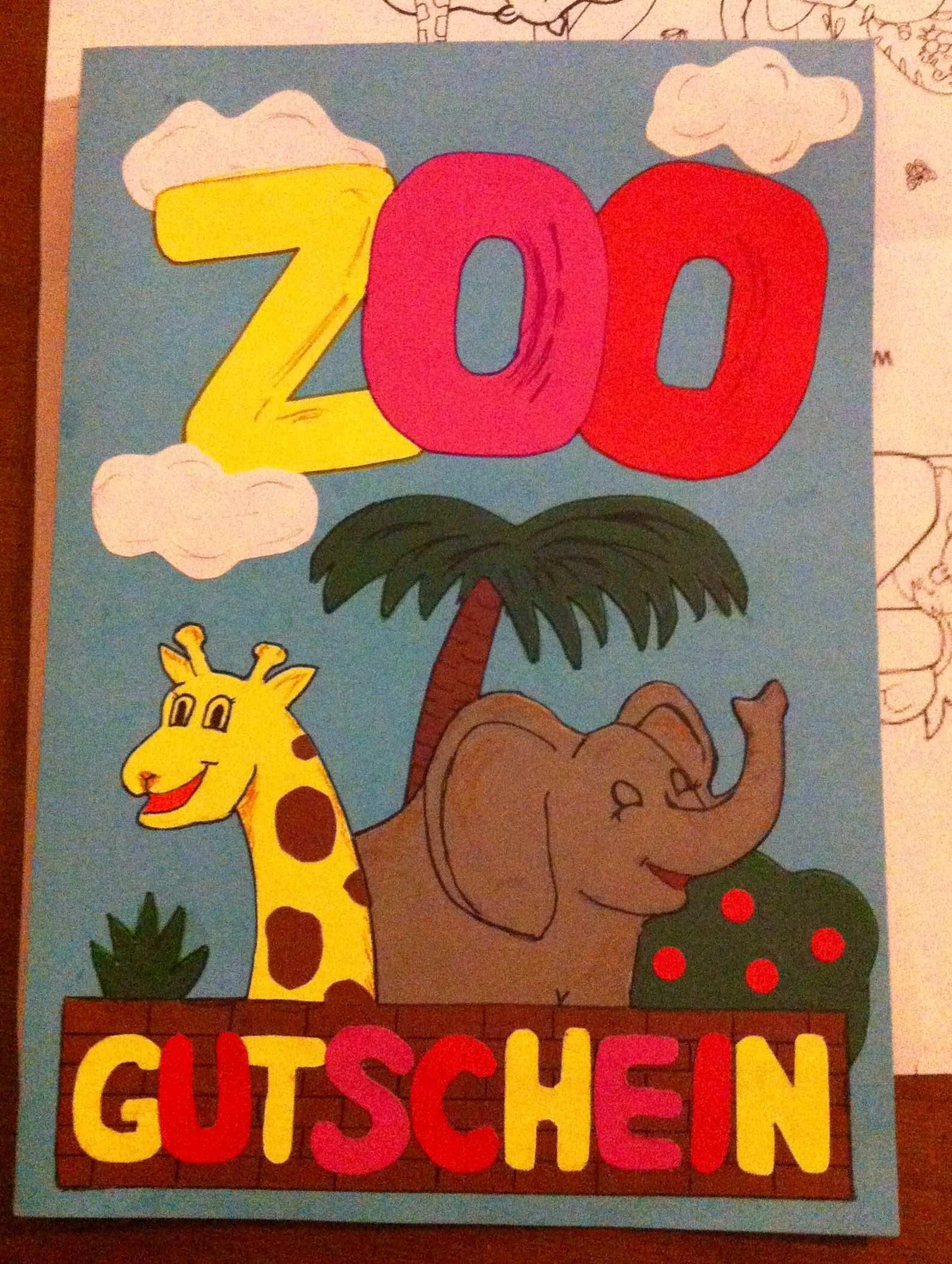 Geburtstagskarte Gutschein Fur Einen Zoobesuch Gutschein